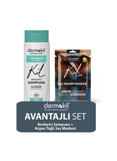 Dermokil Dermokil Zeytinyağlı Şampuan ve Argan Saç Maskesi 2'li SET Renksiz